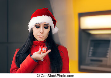 Disappointed woman with Small Gift Box - Sad girl not...