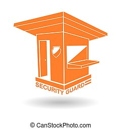 Guardhouse and security guard logo vector illustration
