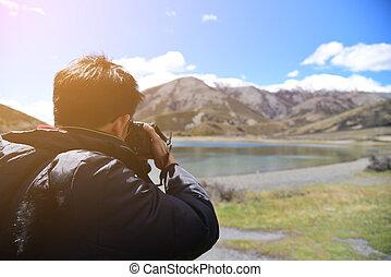 映像, 山, カメラマン, 上, カメラ, 取得, 撃つ, 風景