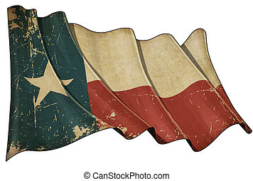 Texan Aged flag - Illustration of a Waving, scratched aged...