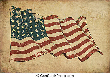 US WWI-WWII (48 stars) Grunge Flag Textured Background...