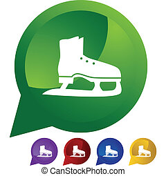 Ice Skate - Ice skate icon button symbol isolated on a...