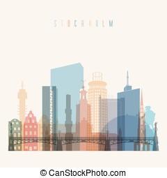 Stockholm skyline poster - Transparent styled Stockholm...
