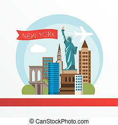 New York, detailed silhouette.