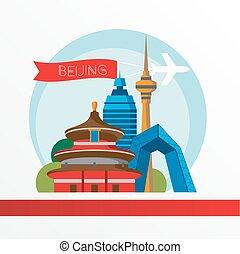 Beijing skyline, detailed silhouette. Trendy vector illustration flat style.