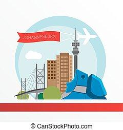 Johannesburg skyline, detailed silhouette. Trendy vector illustration, flat style.