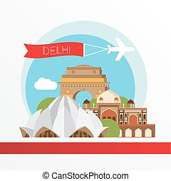 Vector silhouette of Delhi India. City skyline. - Delhi,...