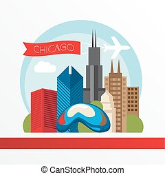 Chicago, detailed silhouette. Trendy vector illustration, flat style. Stylish colorful  landmarks.