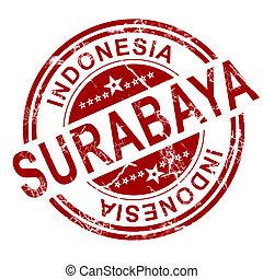 stämpel,  surabaya, röd