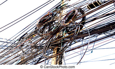 Electric wire and cable zoom in - Electric wire and cable in...