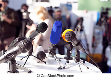 News conference - Microphones at press conference