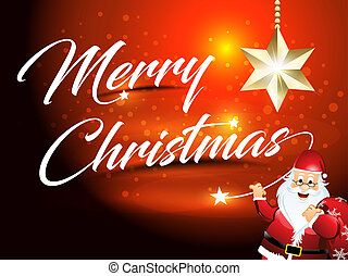 merry chirstmas text background with santa