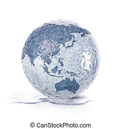 ice globe 3D illustration asia and australia map