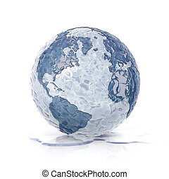 ice globe 3D illustration north and south america map