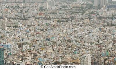 Small houses of Saigon from high