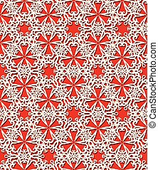 Seamless white decorative pattern on red background