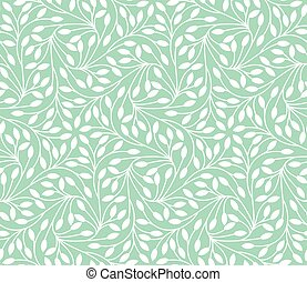Seamless leaves pattern on teal background