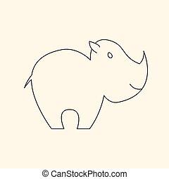 One line cute rhinoceros vector illustration