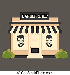 Barbershop street building facade small shop front shopping...