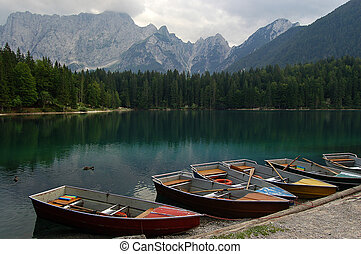 Lago di Fusine - Friuli Italy - Rowboats in the Fusine Lake...