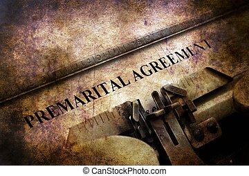 Premarital agreement on vintage typewriter