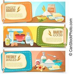 Baking Ingredients Horizontal Banners - Three colorful...