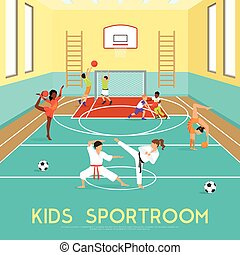Poster Of Kids Sportroom - Poster of sportroom where kids...