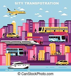 City Transportation Vector Illustration - City background...