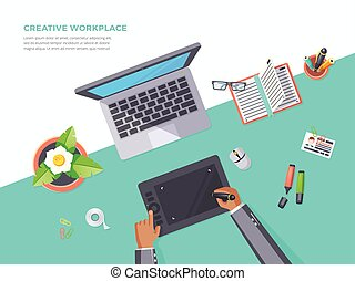 Top View Of Creative Workplace - Flat poster of top view...