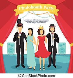 Photo Booth Party Illustration - Photo booth party with...