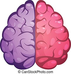 Right And Left Brain Symbolic Image - Human brain two...