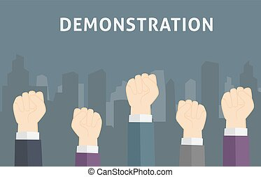 Illustration of many people in demonstration with Fist Hand...