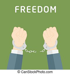 Male hands breaking steel handcuffs, freedom concept illustration
