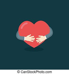 Hug The Love Shape Vector, Hug Your Self Love Your Self. I...