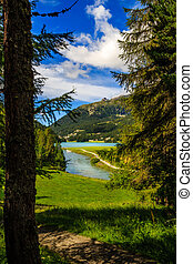 Champferersee and Inn river near St. Moritz, Switzerland -...