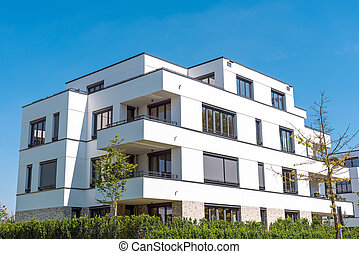 White modern townhouses in Germany