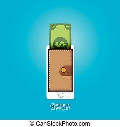 vector digital mobile e wallet vector concept - vector...