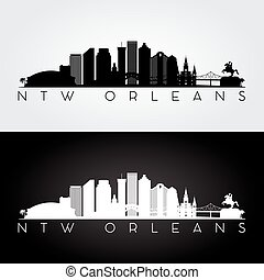 New Orleans skyline silhouette - New Orleans USA skyline and...
