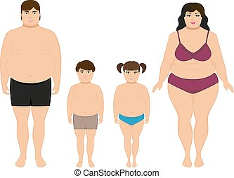 Vector cartoon happy fat overweight family - Vector...
