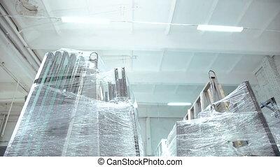 Glass for glazed windows. Warehouse for glass. Full HD