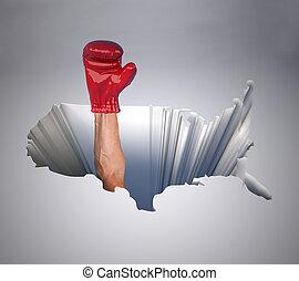 地圖, 團結, 拳擊, 手套, 國家, 洞, 美國, 手臂
