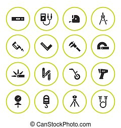 Set round icons of measuring tools isolated on white. Vector...