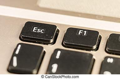 esc, a keyboard detail - close up of a personal computer...