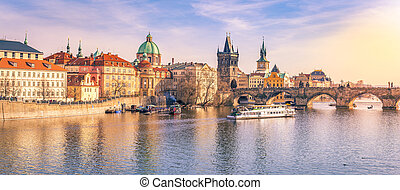 Prague panorama with its river and buildings - Panorama of...