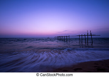 Long exposure photography, twilight color after sunset over...