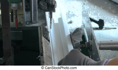 Plastic window factory, process in full HD