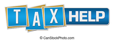 Tax Help Blue Square Stripe Horizontal - Tax help text...