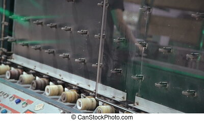 Production of glass in the window factory. Full HD