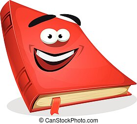 Red Book Character - Illustration of a cartoon funny red...