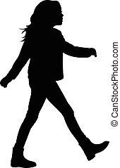 walking girl silhouette
